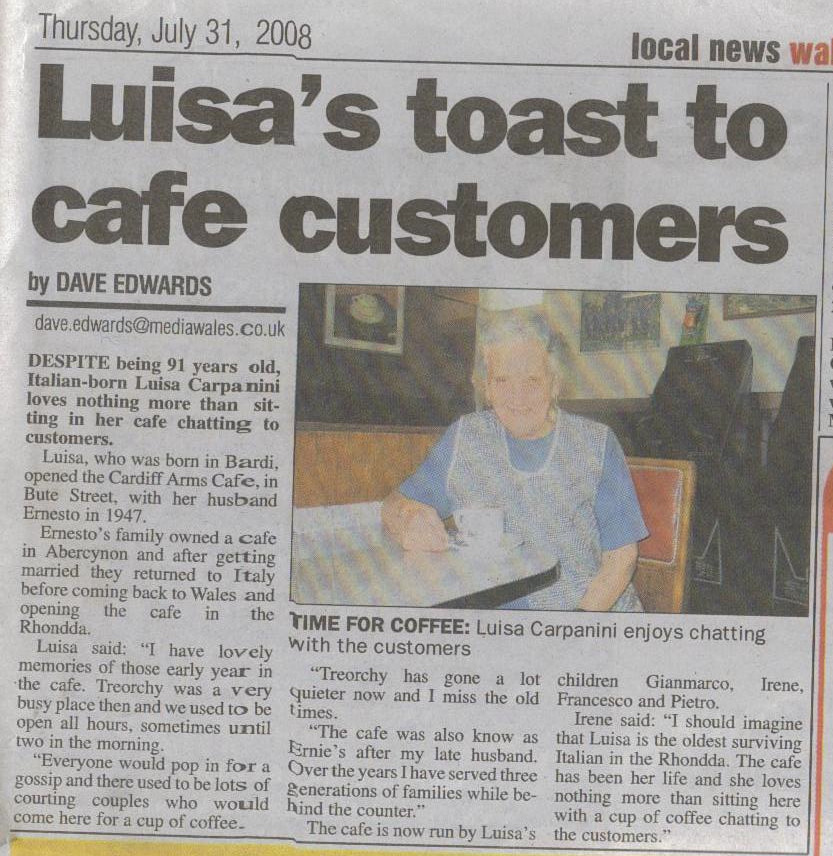 Luisa's Toats to Cafe Customers